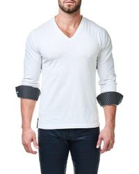Maceoo - White Check V-neck Pullover for Men - Lyst