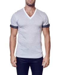 Maceoo | White Contrast Cuff Dot Dobby V-neck T-shirt for Men | Lyst