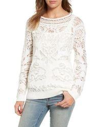 Hinge | White Drop Stitch Cotton Blend Sweater | Lyst