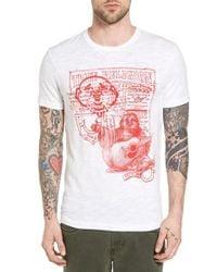 True Religion | White Buddha Sketch Graphic T-shirt for Men | Lyst