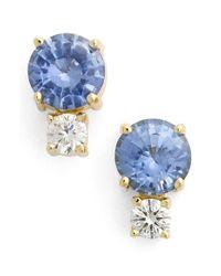 Jemma Wynne   Blue Sapphire & Diamond Stud Earrings   Lyst