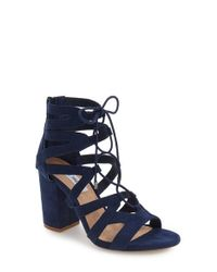 Steve Madden | Blue 'gal' Strappy Lace-up Sandal | Lyst