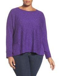 Eileen Fisher | Purple Organic Slub Knit Pullover | Lyst