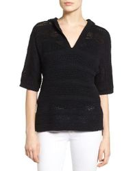 Caslon | Black Caslon Open Work Cotton Hoodie Sweater | Lyst