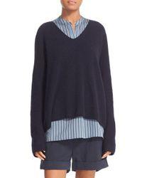 VINCE | Blue Deep V-neck Cashmere Pullover | Lyst