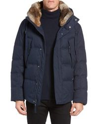 Marc New York | Blue By Andrew Marc Darien Genuine Rabbit Fur Trim Down/feather Jacket for Men | Lyst
