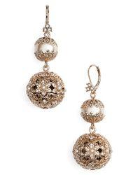 Marchesa - Metallic Imitation Pearl Drop Earrings - Lyst