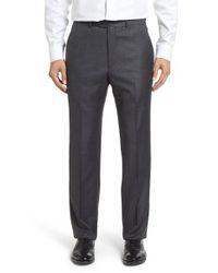 Santorelli | Gray Flat Front Windowpane Wool Trousers for Men | Lyst