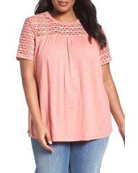 Caslon | Pink Caslon Lace Yoke Knit Top | Lyst