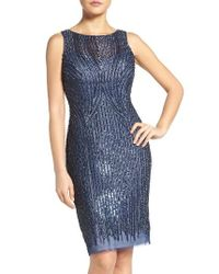 Adrianna Papell | Blue Embellished Mesh Sheath Dress | Lyst