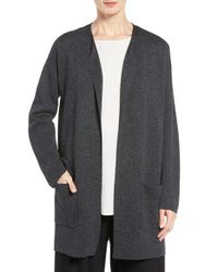 Eileen Fisher   Gray Tencel & Merino Wool Long Cardigan   Lyst
