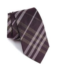 Burberry | Purple Clinton Check Woven Silk Tie for Men | Lyst