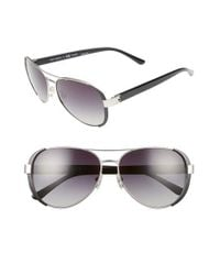 Tory Burch | Metallic 60mm Polarized Aviator Sunglasses - Polarized Silver | Lyst
