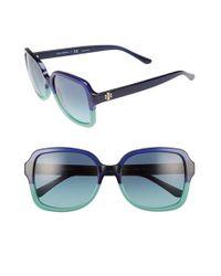 Tory Burch   Blue 55mm Square Sunglasses   Lyst