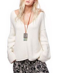 Free People | White La Brea V-neck Sweater | Lyst