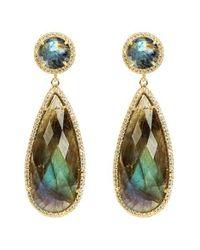 Susan Hanover | Metallic Semiprecious Stone Double Drop Earrings | Lyst