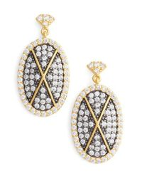 Freida Rothman - Metallic Contemporary Deco Pave Drop Earrings - Lyst