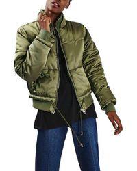 TOPSHOP | Green Carter Satin Puffer Jacket | Lyst