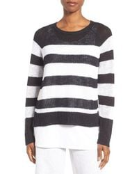 Eileen Fisher | White Slub Stripe Organic Linen & Cotton Top | Lyst