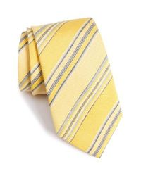 David Donahue | Metallic Stripe Linen & Silk Tie for Men | Lyst