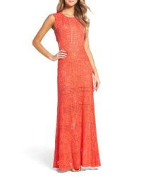 BCBGMAXAZRIA | Red Merida Open Back Lace Gown | Lyst