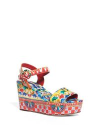 Dolce & Gabbana | Red Carretto Platform Wedge Sandal | Lyst