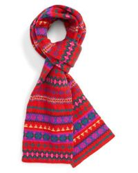 J.Crew | Red Fair Isle Wool Scarf | Lyst