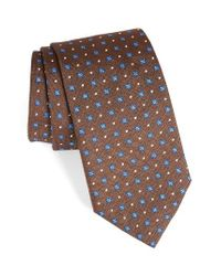 David Donahue | Brown Geometric Silk Tie for Men | Lyst