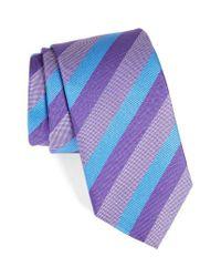 David Donahue | Purple Stripe Silk Tie for Men | Lyst