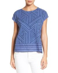 Caslon - Blue Caslon Embroidered Button Back Tee - Lyst