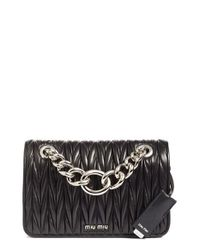 Miu Miu | Black Club Matelasse Leather Shoulder Bag | Lyst