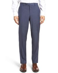 Ted Baker | Blue Flat Front Check Wool Trousers for Men | Lyst
