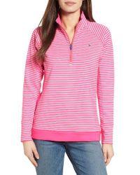 Vineyard Vines | Pink Brandywine Stripe Quarter Zip Pullover | Lyst