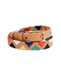Tory Burch | Multicolor Embroidered Leather Bracelet | Lyst