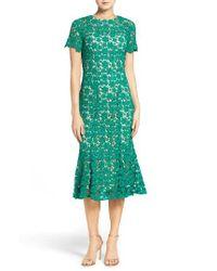 Shoshanna | Green Guipure Lace Midi Dress | Lyst