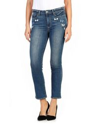 PAIGE | Blue Jacqueline Embroidered High Waist Straight Leg Jean | Lyst