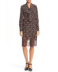 McQ | Multicolor Tie Neck Floral Print Dress | Lyst
