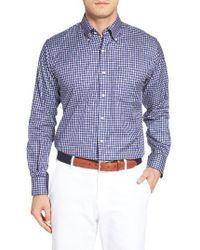 Peter Millar | Blue Nanoluxe Regular Fit Check Sport Shirt for Men | Lyst