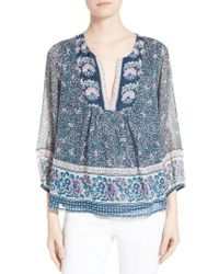 Joie | Blue Perialla Print Silk Peasant Top | Lyst