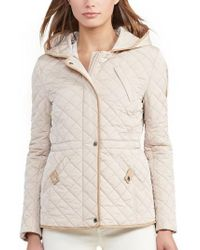 Lauren by Ralph Lauren | Natural Faux Leather Trim Quilted Anorak | Lyst