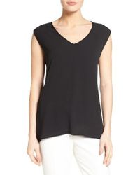 Vince Camuto | Black Mixed Media Top | Lyst