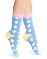 Happy Socks | Blue Diagonal Hearts Socks | Lyst