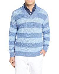 Peter Millar | Blue Shoreline Shawl Collar Sweater for Men | Lyst