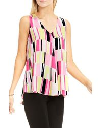 Vince Camuto | Pink Drape Front Graphic Print Blouse | Lyst