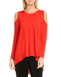 Vince Camuto   Blue Cold Shoulder Mixed Media Top   Lyst