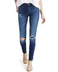 Madewell - Blue High Waist Skinny Jeans: Ripped & Patched Edition - Lyst