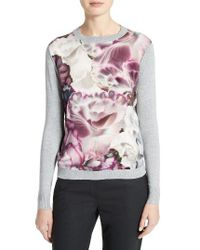 Ted Baker | Gray Illuminated Bloom Woven Front Sweater | Lyst