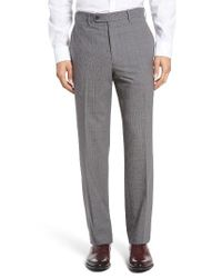 JB Britches | Gray Torino Flat Front Check Wool Trousers for Men | Lyst