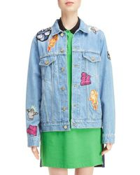 5130756332d Lyst - Kenzo Patch Stone Wash Denim Jacket in Blue
