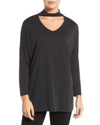 Trouvé | Black Keyhole V-neck Top | Lyst